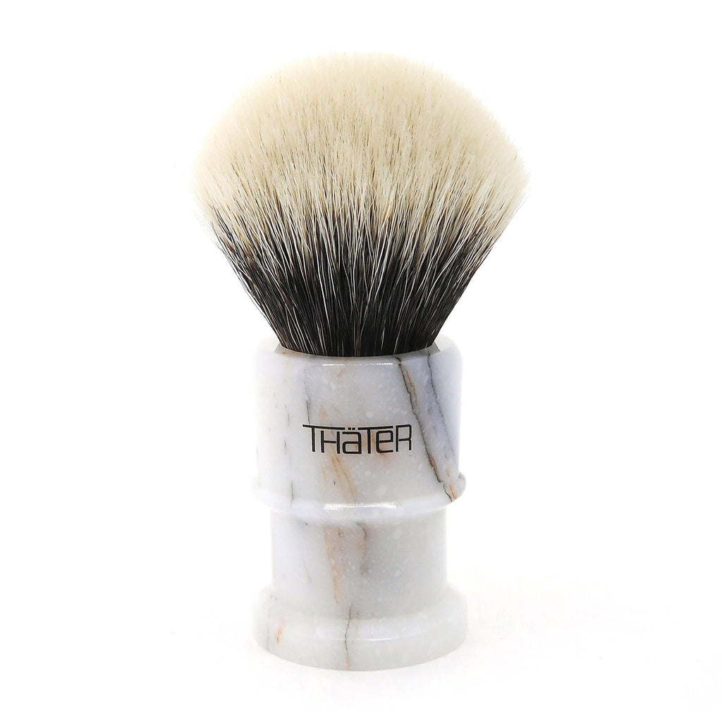 H.L. Thater 4650 Limited Edition 2-Band Fan-Rounded Silvertip Shaving Brush, Size 2 Badger Bristles Shaving Brush Heinrich L. Thater Bianco Lasa