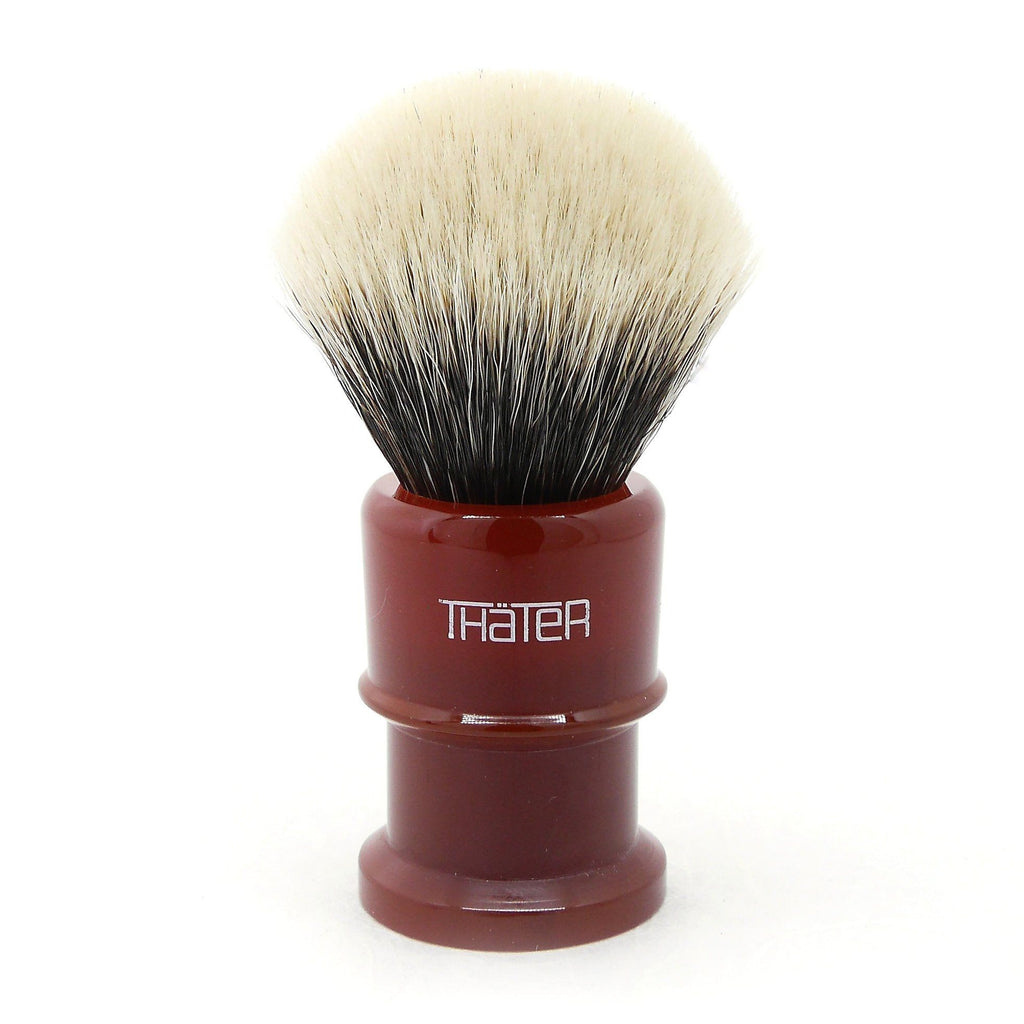H.L. Thater 4650 Limited Edition 2-Band Fan-Rounded Silvertip Shaving Brush, Size 2 Badger Bristles Shaving Brush Heinrich L. Thater Imperial Red