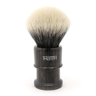 H.L. Thater 4650 Limited Edition 2-Band Fan-Rounded Silvertip Shaving Brush, Size 2 Badger Bristles Shaving Brush Heinrich L. Thater Onyx Maderia