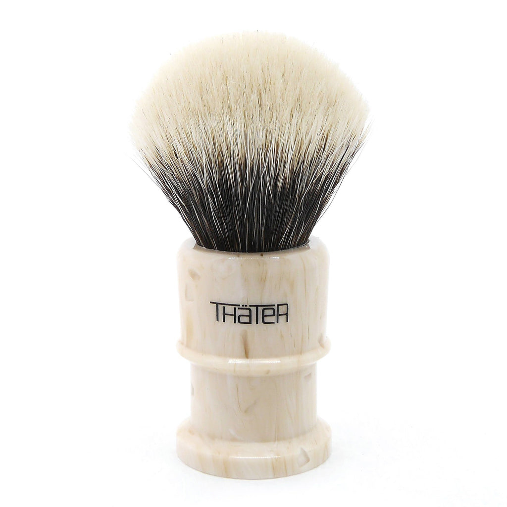 H.L. Thater 4650 Limited Edition 2-Band Fan-Rounded Silvertip Shaving Brush, Size 2 Badger Bristles Shaving Brush Heinrich L. Thater Perlato Sicilia