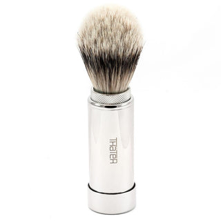 H.L. Thater 5068 Series Silvertip Shaving Brush in Brass Travel Case Badger Bristles Shaving Brush Heinrich L. Thater