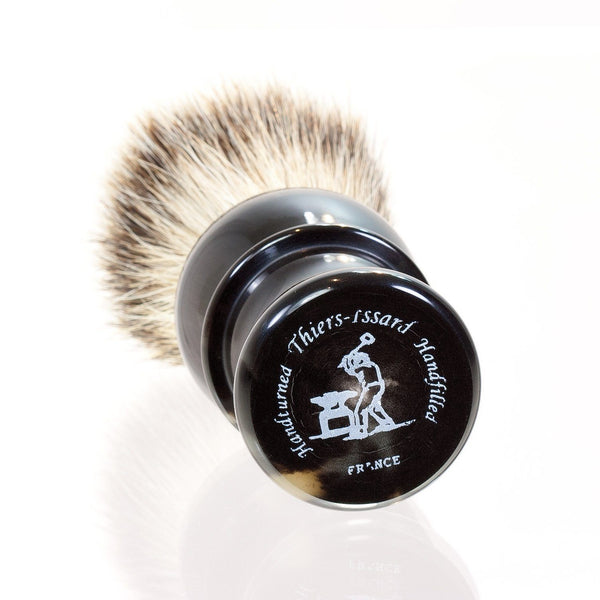 Thiers Issard Silvertip Badger Shaving Brush, Black Horn Handle - Fendrihan Canada - 2