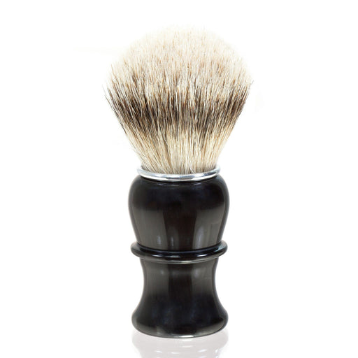 Thiers Issard Silvertip Badger Shaving Brush, Black Horn Handle - Fendrihan Canada - 1