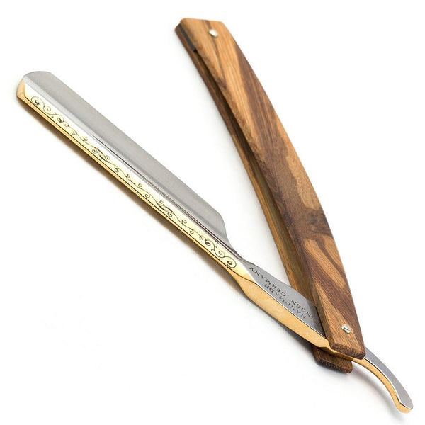 "Timor 381 Solingen Crest Straight Razor 6/8"", Maplewood Handle - Fendrihan Canada - 3"