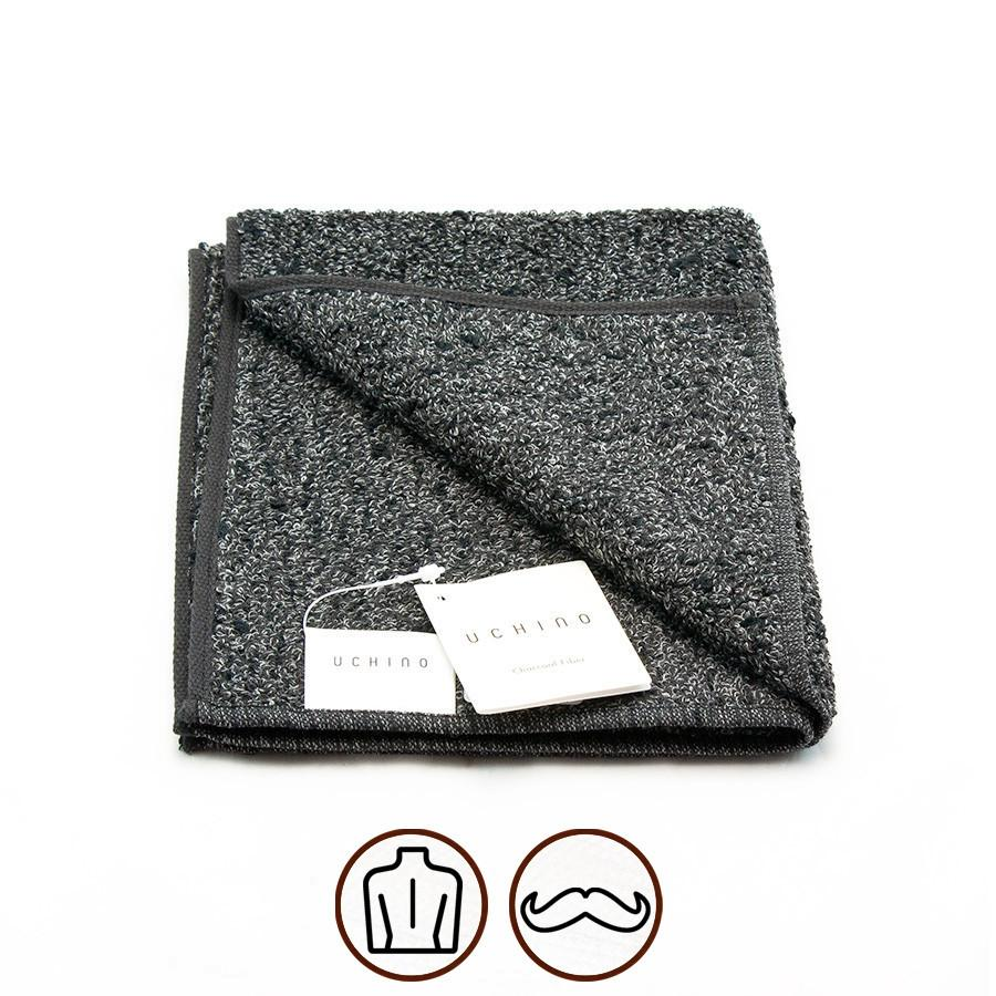 Uchino Kishu Binchotan Charcoal Odour-Eliminating Cotton Towel Towel Uchino Washcloth (34 x 40 cm)