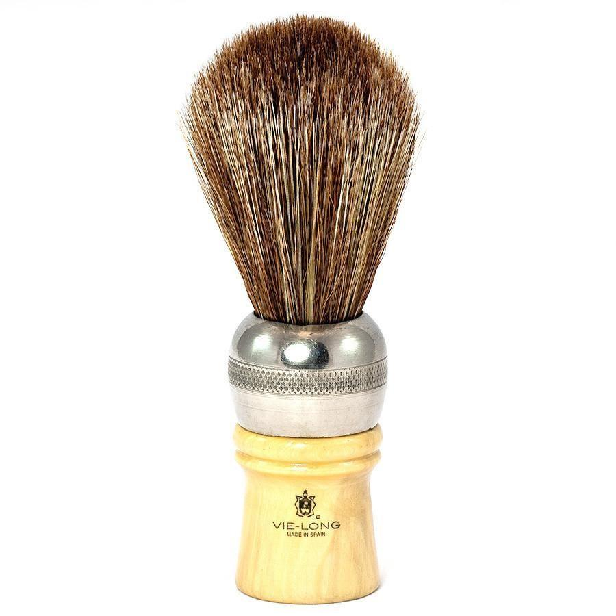 Vie-Long Cachurro Professional Horse Hair Shaving Brush, Metal & Wood Handle Horse Bristles Shaving Brush Vie-Long