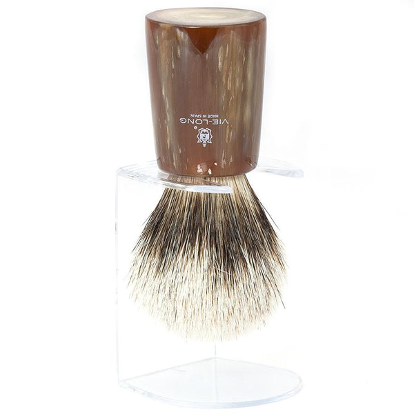 Vie-Long Silvertip Badger Hair Shaving Brush, Natural Horn Handle - Fendrihan Canada - 3