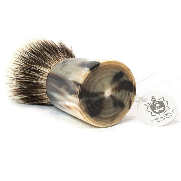 Vie-Long Silvertip Badger Hair Shaving Brush, Natural Horn Handle - Fendrihan Canada - 2