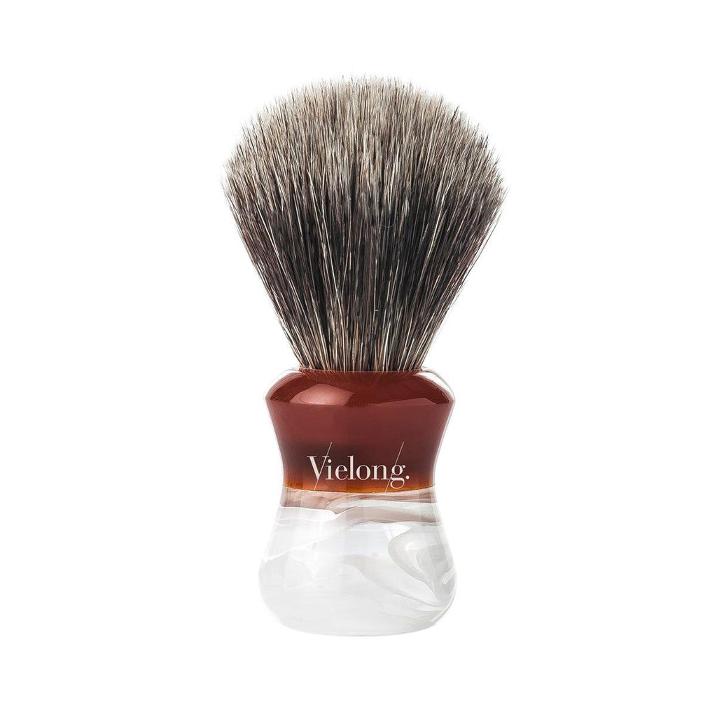 Vie-Long Grey Horse Hair Shaving Brush, Acrylic Two-Color Handle Horse Bristles Shaving Brush Vie-Long