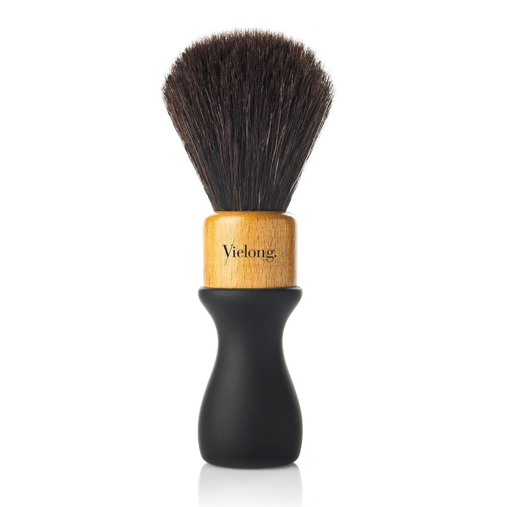 Vie-Long American Style Black Horse Hair Shaving Brush, Natural Rubber and Wood Handle Horse Bristles Shaving Brush Vie-Long