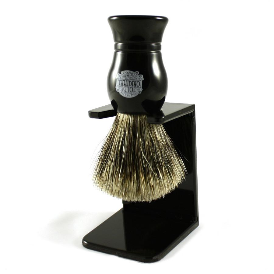 Vulfix Pure Grey Badger Shaving Brush & Stand, Black Badger Bristles Shaving Brush Vulfix