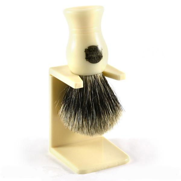 Vulfix Pure Grey Badger Shaving Brush & Stand, Faux Ivory Badger Bristles Shaving Brush Vulfix