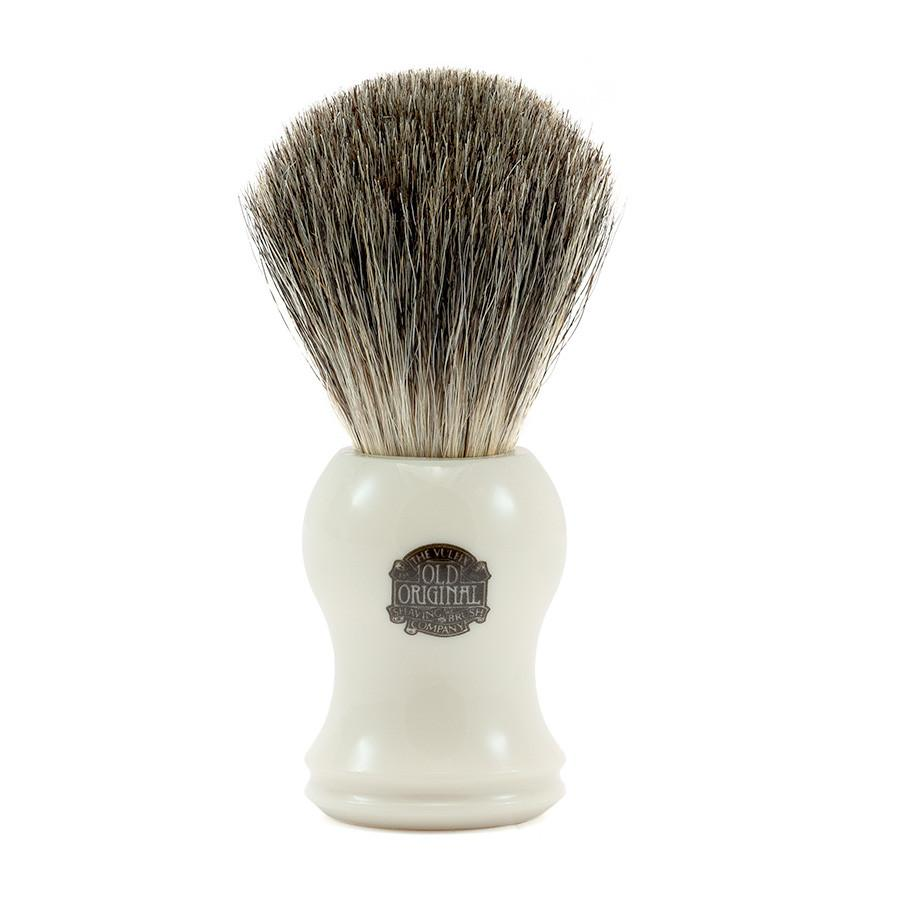 Vulfix Pure Black Badger Shaving Brush, Faux Ivory Handle Badger Bristles Shaving Brush Vulfix