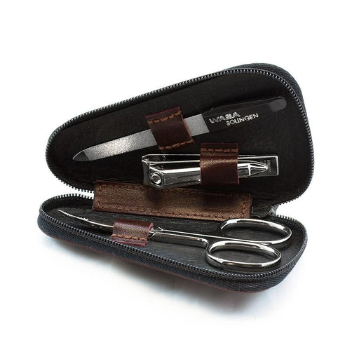 WASA Solingen 3-Piece Manicure Set, Brown Leather Zip Case - Fendrihan Canada - 1