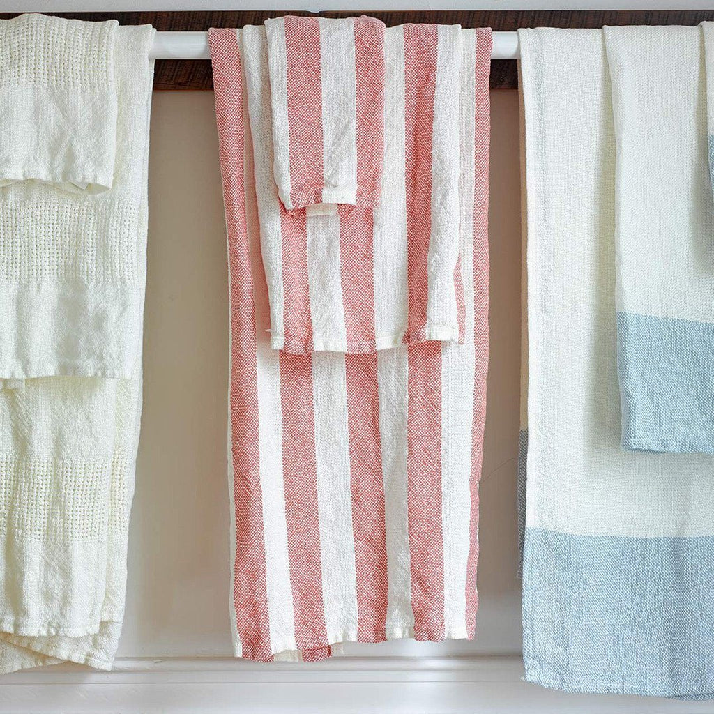 Brahms Mount Linen Bath Towel, Coral Awning Stripe - Fendrihan Canada - 2