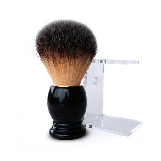 "Plisson ""La Maison du Barbier"" Synthetic Shaving Brush & Stand, Ebony Handle - Fendrihan Canada"