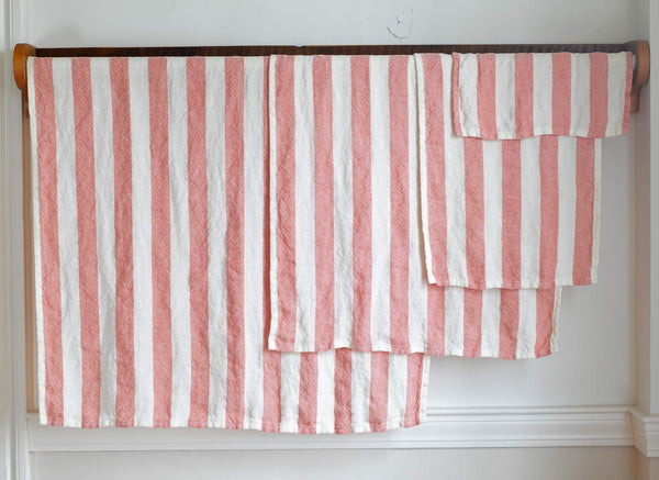 Brahms Mount Linen Bath Towel, Coral Awning Stripe - Fendrihan Canada - 3