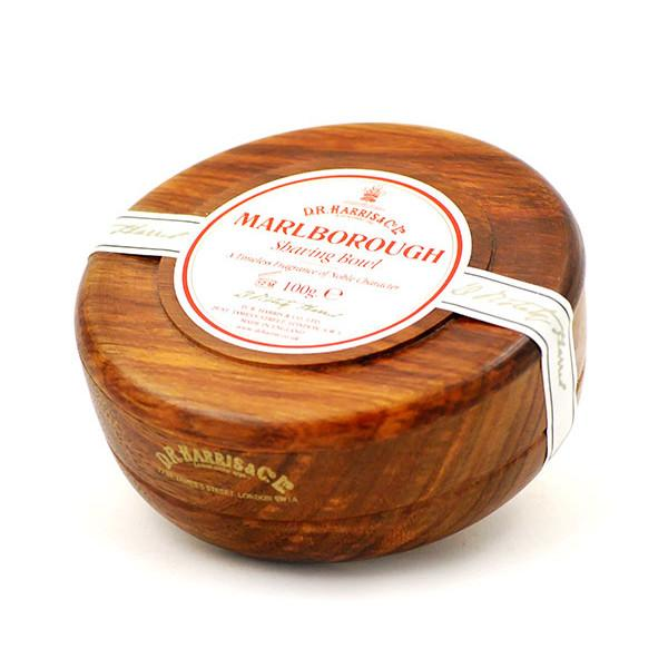 D.R. Harris Marlborough Shaving Soap in Mahogany Color Wood Bowl Shaving Soap D.R. Harris & Co