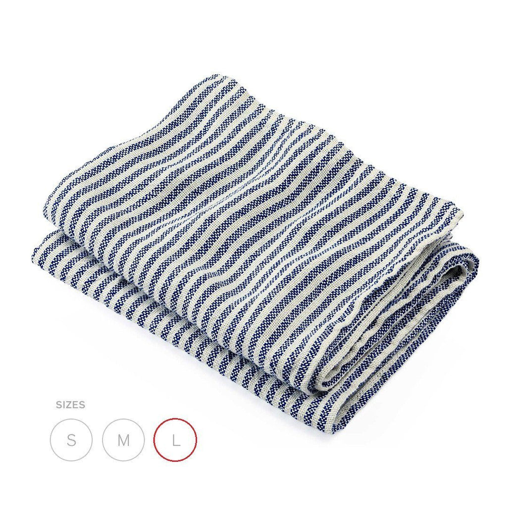 Brahms Mount Linen Bath Sheet, Plain Weave Pearl and Blue Stripe - Fendrihan Canada - 1