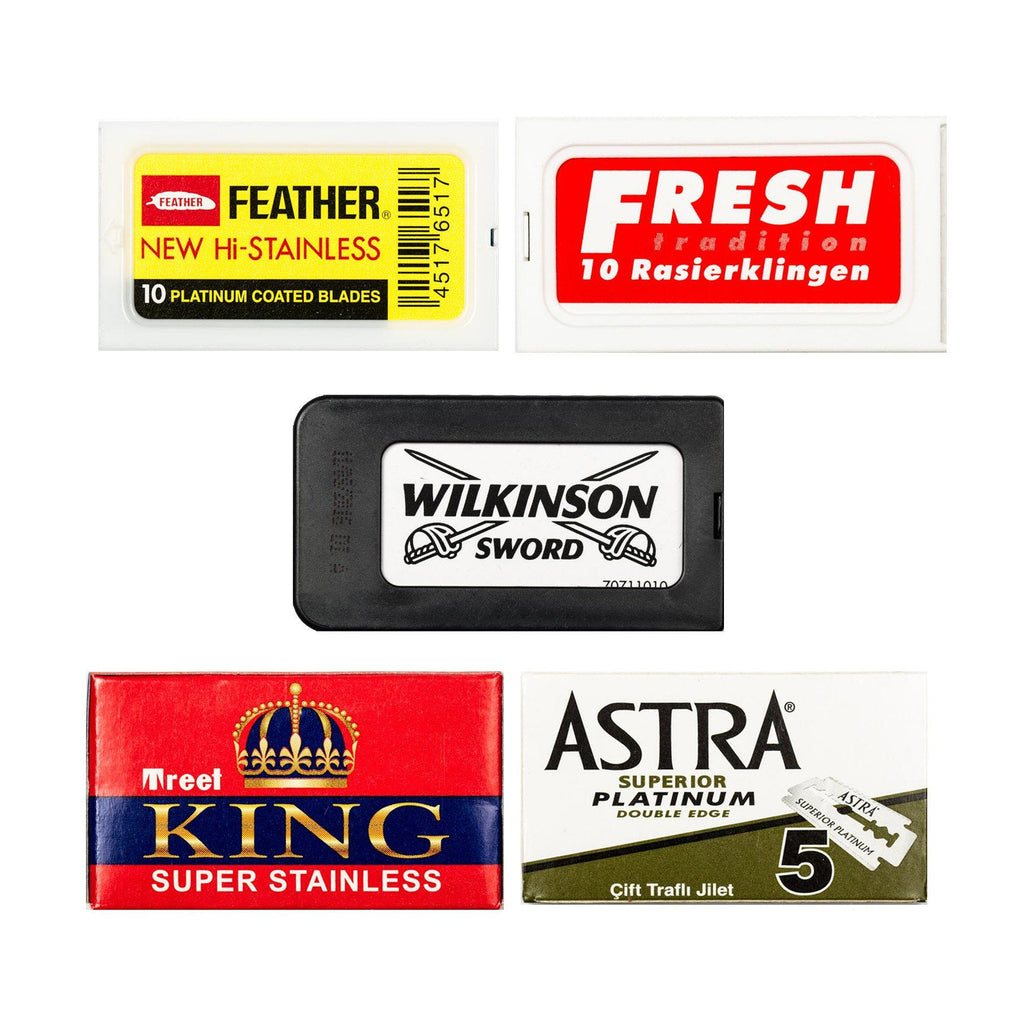 50pc Razor Blade Sampler: Feather, Fresh, Wilkinson, Treet King and Astra Platinum Razor Blades Fendrihan