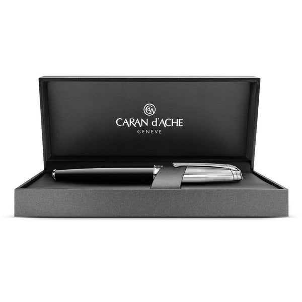 Caran d'Ache Léman Bicolor Black and Silver-plated, Rhodium-coated Fountain Pen - Fendrihan Canada - 2