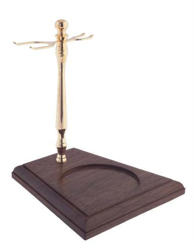 Col. Conk Wood Base Stand for Shaving Brush, Mug & Safety Razor, Gold Tone Shaving Stand Col. Ichabod Conk