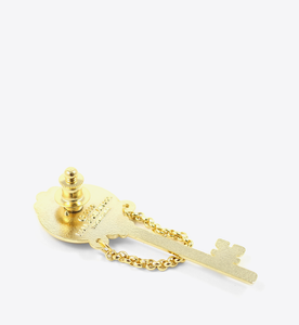 Gold Mirror Skeleton Key Lapel Pin - BALL & CHAIN CO. - 2