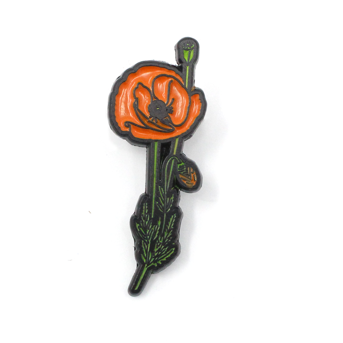 Black Poppy Lapel Pin