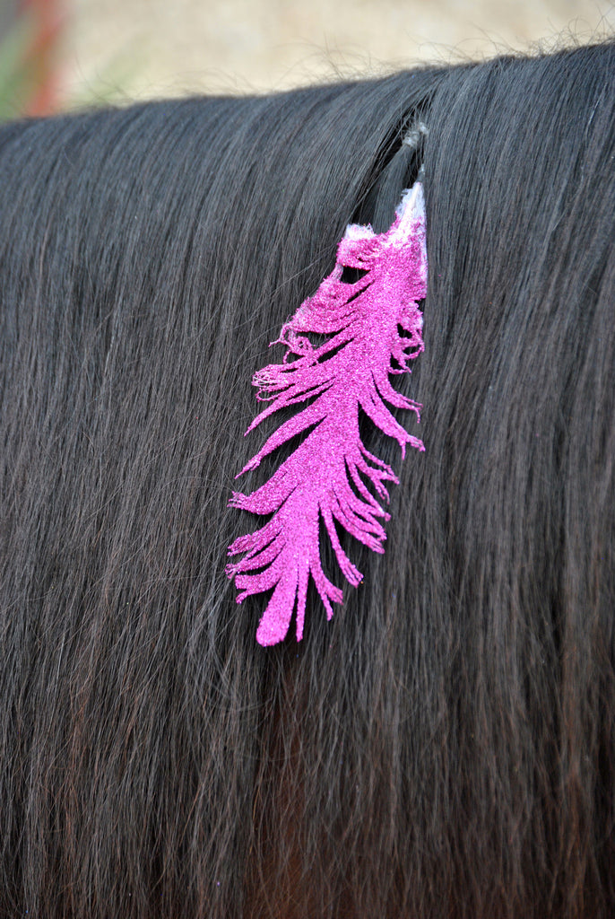 Small Pink Glitter Clip on Feather