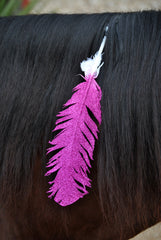Large Pink Glitter Horse Feather