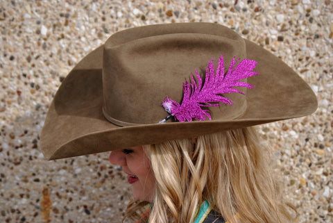 Small Pink Glitter Hat Feather