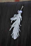 Small Silver Glitter Clip On Feather