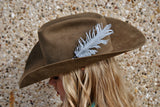 Small Silver Glitter Hat Feather