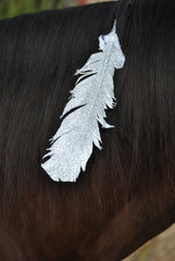 Large Silver Glitter Horse Feather