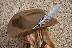 Large Silver Glitter Hat Feather