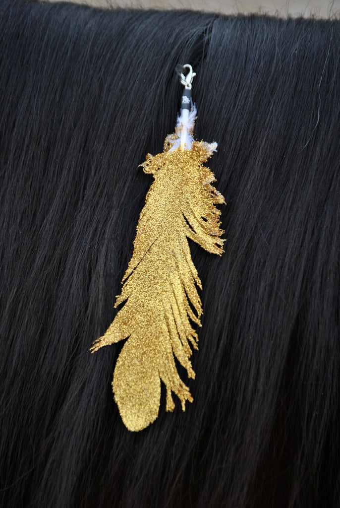 Small Gold Glitter Clip On Feather