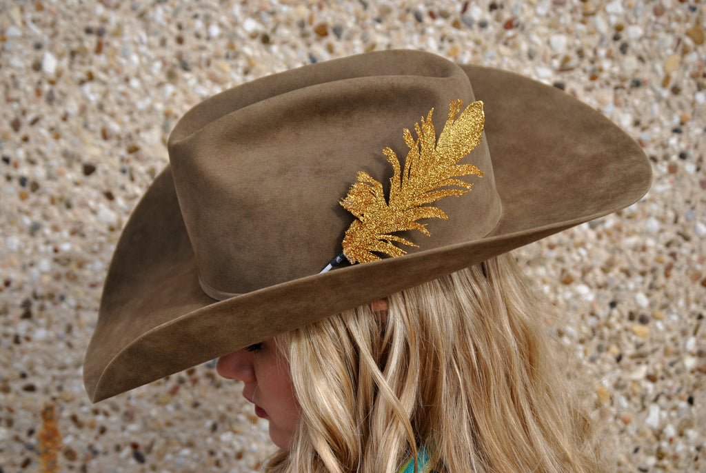 Small Gold Glitter Hat Feather