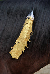 Large Gold Glitter Horse Feather