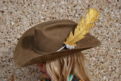 Large Gold Glitter Hat Feather