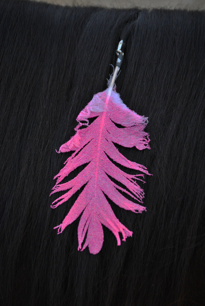 Small Neon Pink Glitter Clip On Feather