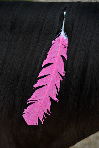 Large Neon Pink Glitter Horse Feather