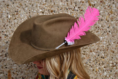 Large Neon Pink Glitter Hat Feather