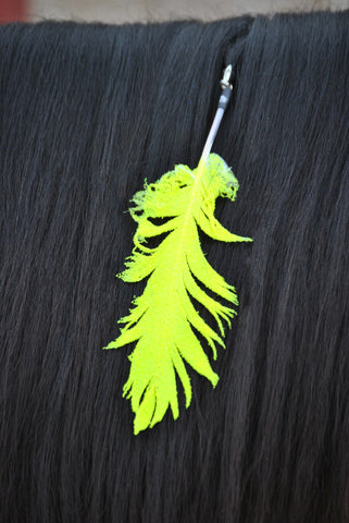 Small Neon Yellow Glitter Clip On Feather