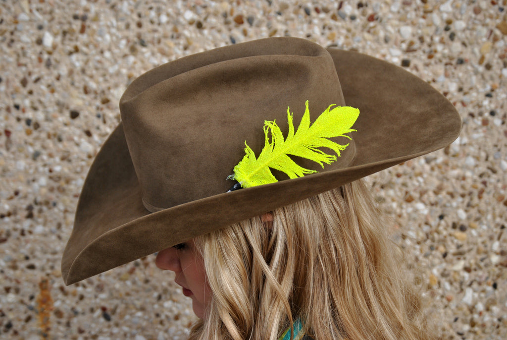 Small Neon Yellow Glitter Hat Feather