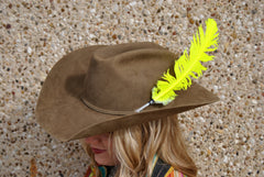 Large Neon Yellow Glitter Hat Feather