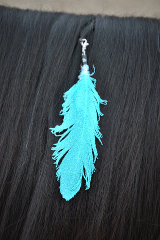 Small Neon Turquoise Glitter Clip On Feather