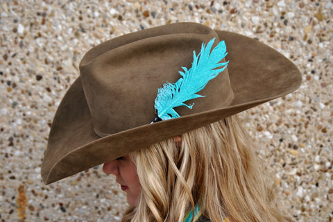 Small Neon Turquoise Glitter Hat Feather