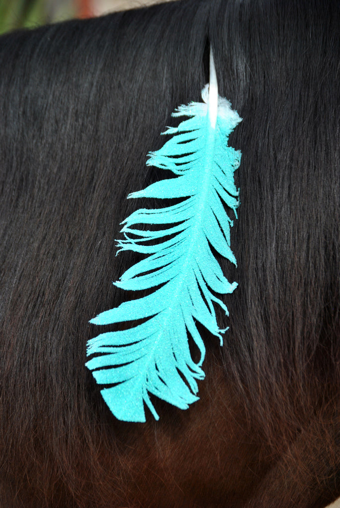 Large Neon Turquoise Horse Feather