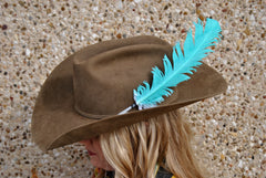 Large Neon Turquoise Hat Feather