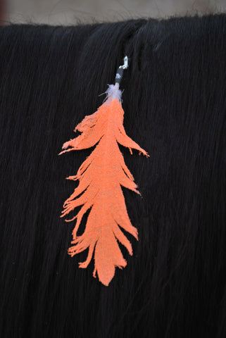 Small Neon Orange Glitter Clip On Feather
